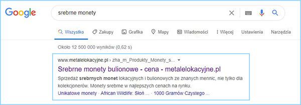 """Wyniki wyszukiwania słowa kluczowego """"srebrne monety""""."""