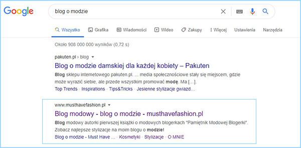 """Wyniki wyszukiwania słowa kluczowego """"blog o modzie""""."""