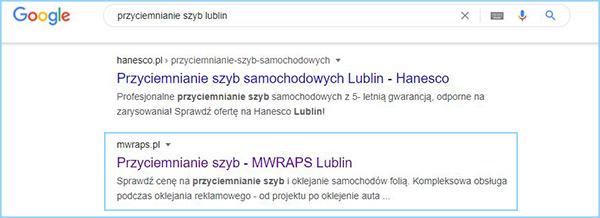 """Wyniki wyszukiwania słowa kluczowego """"przyciemnianie szyb Lublin""""."""
