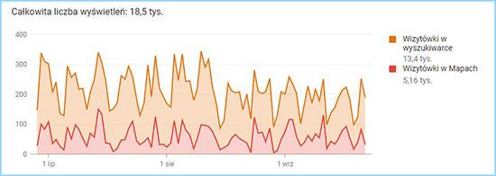 Liczba wyświetleń wizytówki firmy M-Wraps w wynikach wyszukiwania i Mapach Google.