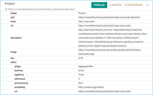 Testowanie danych strukturalnych Schema.org dla pozycjonowanej strony produktu.