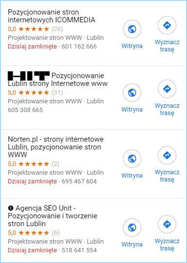 Wizytówki Google Moja Firma w wynikach wyszukiwania Map Google.