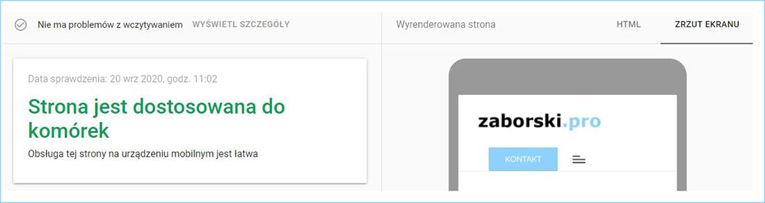 Wynik Testu Optymalizacji Mobilnej przeprowadzonego dla witryny zaborski.pro.