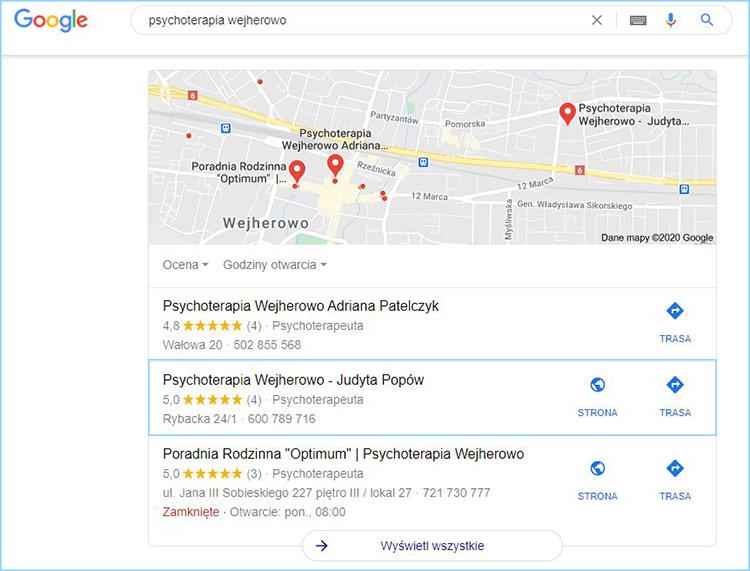"""Wyniki wyszukiwania słowa kluczowego """"psychoterapia Wejherowo""""."""