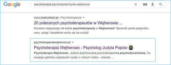 """Wyniki wyszukiwania słowa kluczowego """"psychoterapia psychodynamiczna Wejherowo""""."""