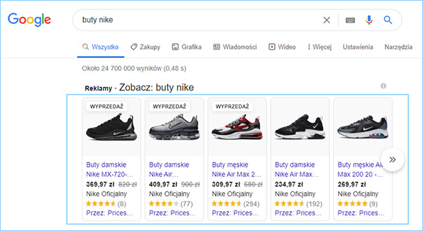 Przykładowa reklama produktowa w Zakupy Google.
