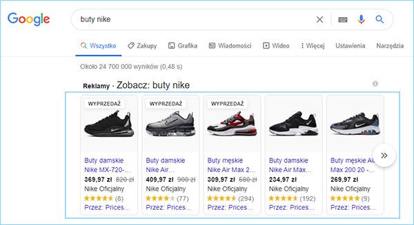 Reklamy produktowe w Zakupach Google.
