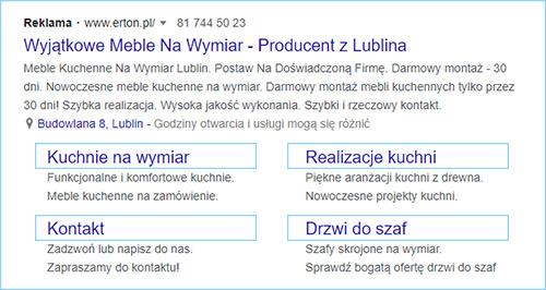 Reklama tekstowa z rozszerzeniem linków do podstron.
