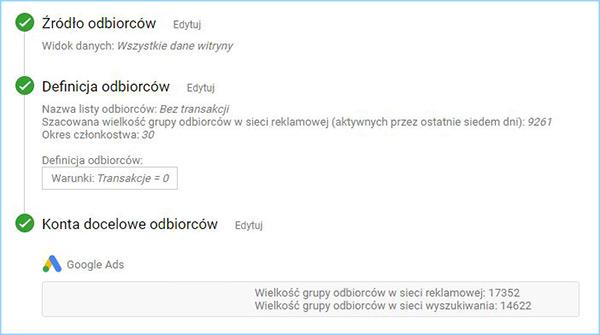 Przykład konfiguracji źródła odbiorców w Google Analytics.