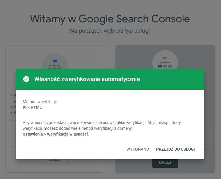 Automatyczne zweryfikowanie własności Google Search Console