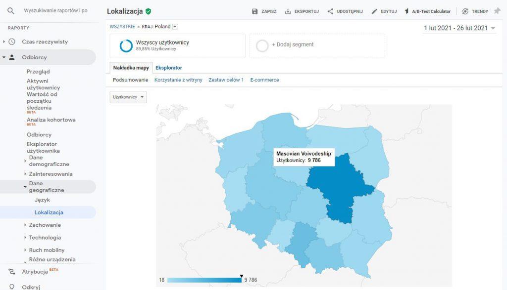 Dane geograficzne w Google Analytics
