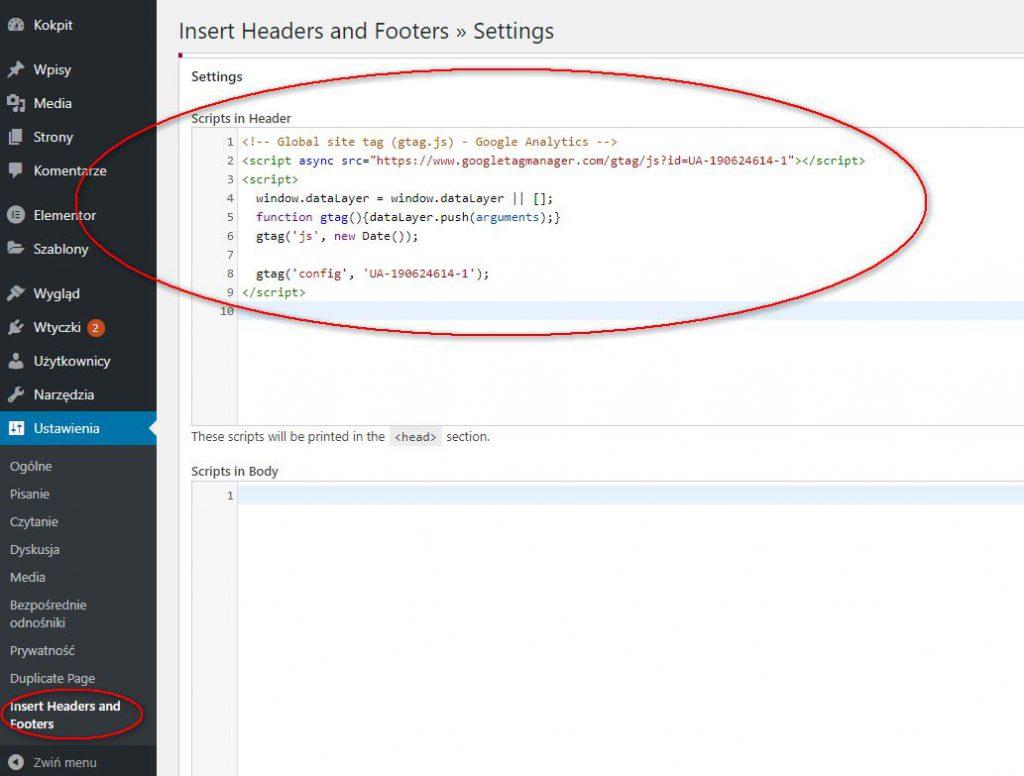 """Dodanie kodu śledzenia Google Analytics za pomocą wtyczki """"Insert Headers and Footers"""""""