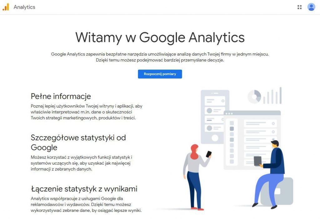 Ekran powitalny Google Analytics
