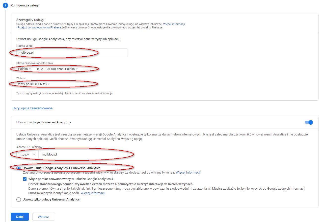 Konfiguracja usługi Google Analytics