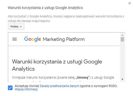 Warunki korzystania z usługi Google Analytics