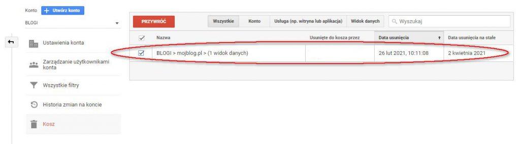Przywrócenie z kosza usuniętej usługi Google Analytics