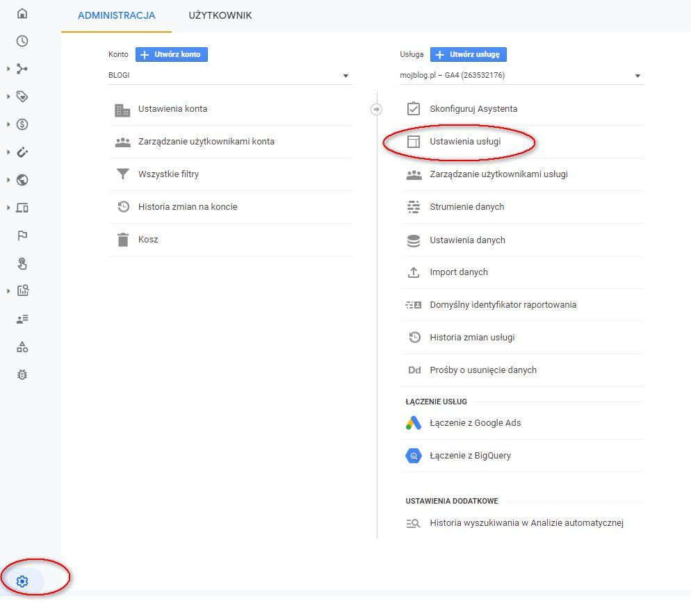 Usuwanie usługi z Google Analytics 4
