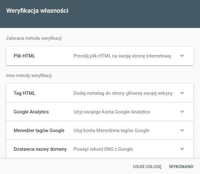 Metody weryfikacji własności Google Search Console