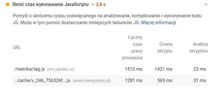 Skróć czas wykonywania JavaScriptu