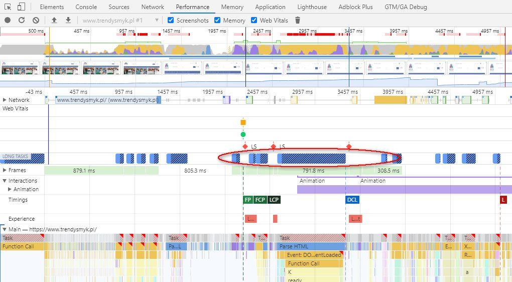Weryfikacja czasu wykonywania JavaScriptu w narzędziu Chrome DevTools