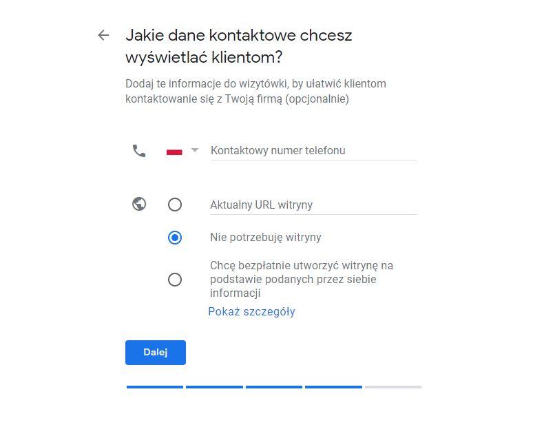 Dane kontaktowe firmy w wizytówce Google