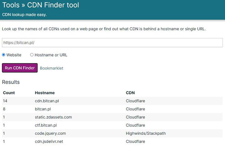 Weryfikacja użycia CDN za pomocą narzędzia CDN Finder