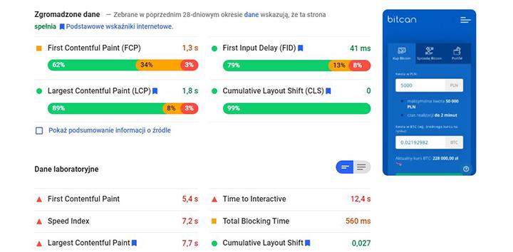 Zrzut ekranu z testu przeprowadzonego narzędziem Google Page Speed Insights