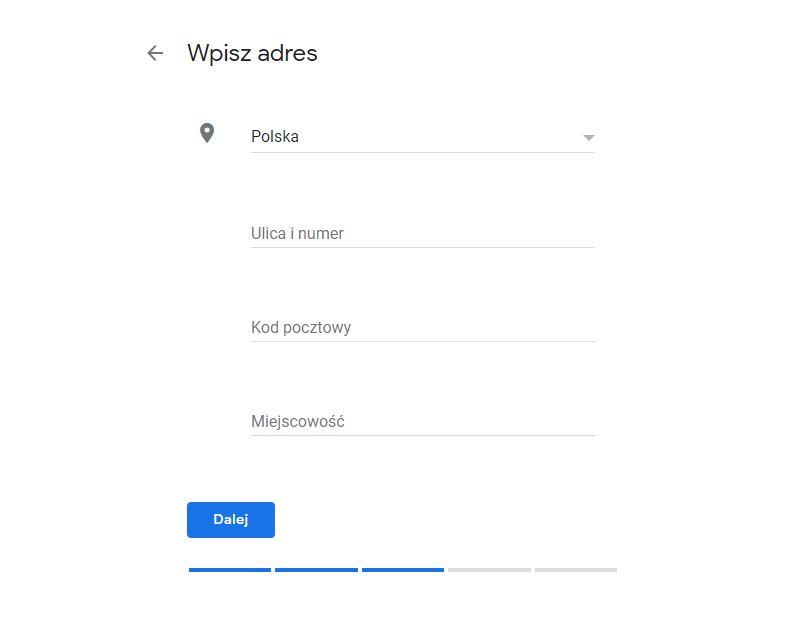 Podanie adresu firmy wizytówka Google