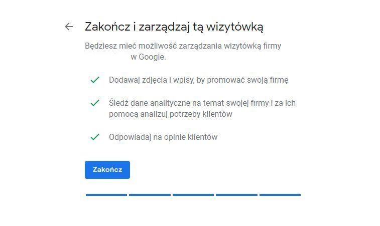 Podsumowanie dodania wizytówki Google Moja Firma