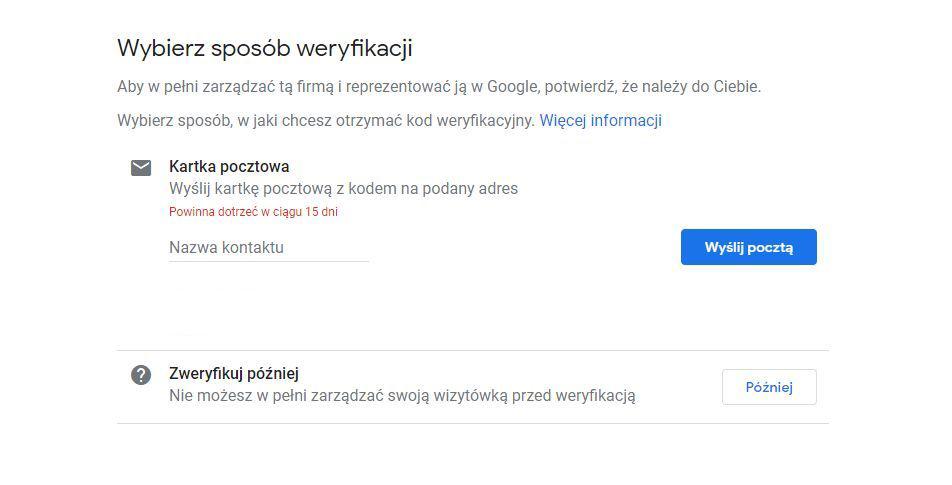 Sposoby weryfikacji wizytówki Google Moja Firma
