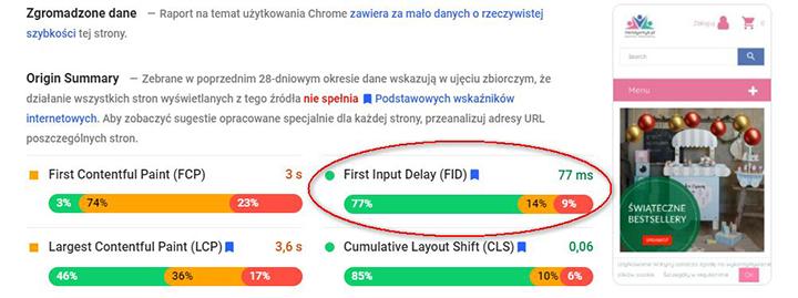 Weryfikacja First Input Delay za pomocą narzędzia PageSpeed Insights