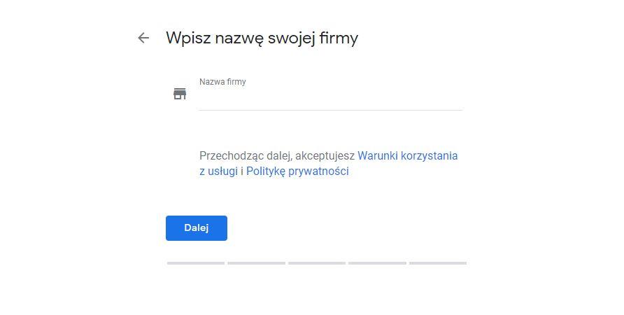 Dodanie nazwy firmy w Google Moja Firma