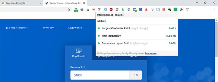 Zrzut ekranu z wtyczki do Chrome: Web Vitals